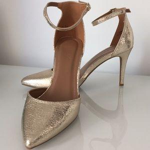 NEW Gold D'Orsay ankle strap Vegan heels 8 (EU 38)